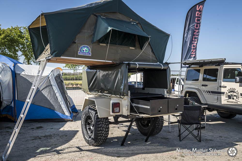 On peut aussi poser sa tente sur une remorque