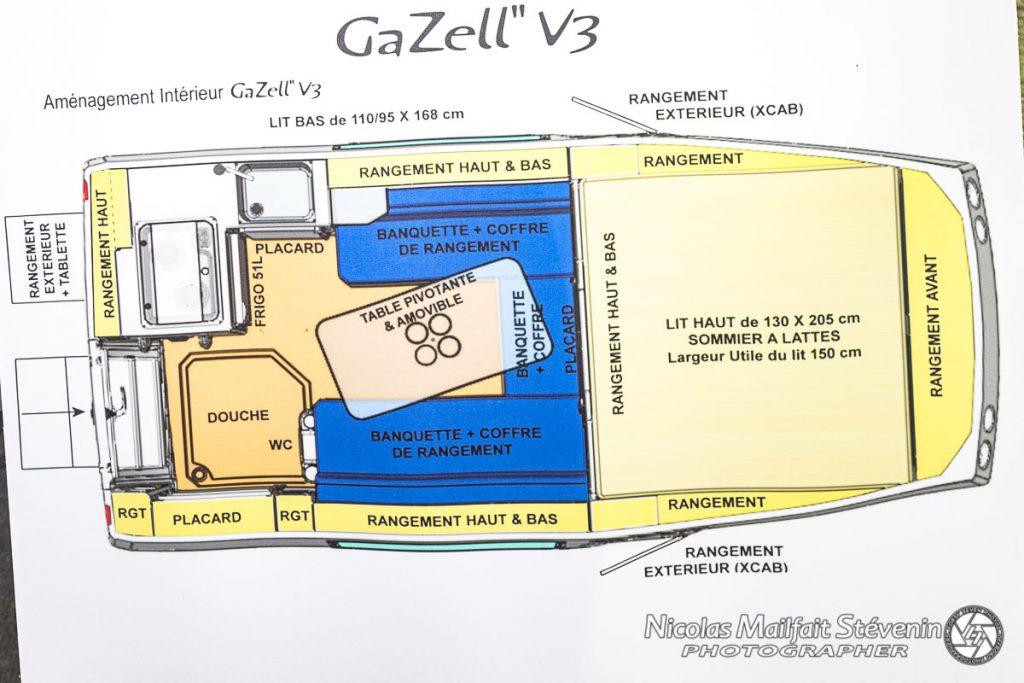 Plan de la cellule et de son aménagement