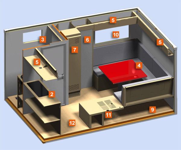 Un exemple d'un aménagement intérieur de la cellule pour camion Truckcab
