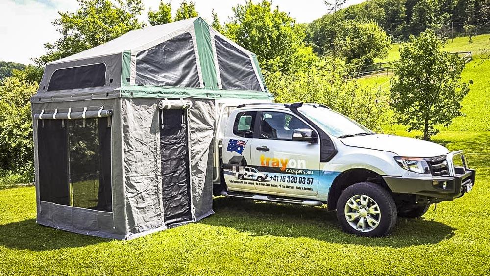 cellule Trayon camper avec sa tente en dessous